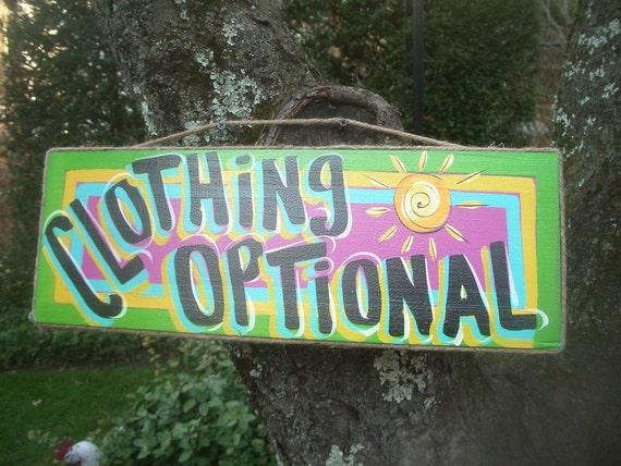CLOTHING OPTIONAL - Tropical Paradise Pool Patio Beach House Hot Tub Tiki Bar Hut Parrothead Handmade Wood Sign Plaque