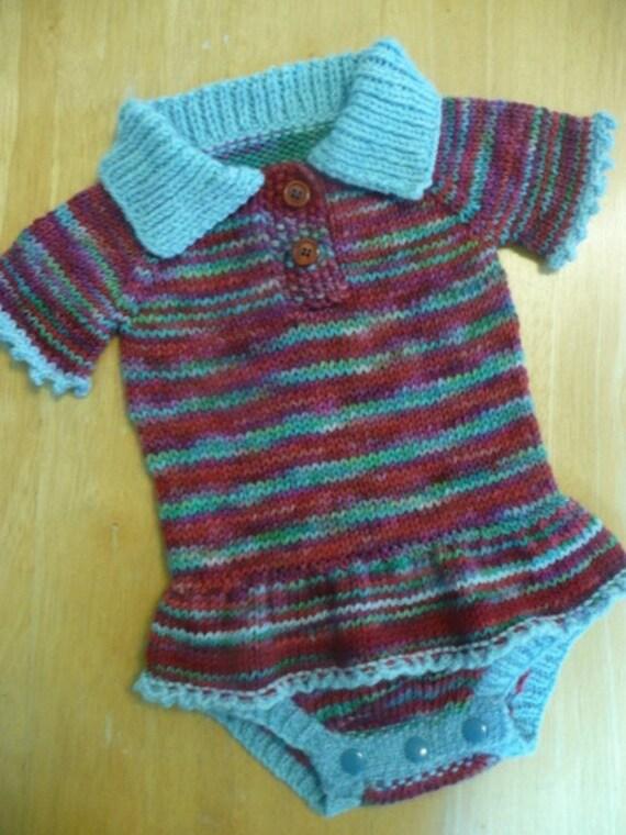 SM/MEDIUM Wool Onesie Diaper Cover-- Hand-Knit OOAK