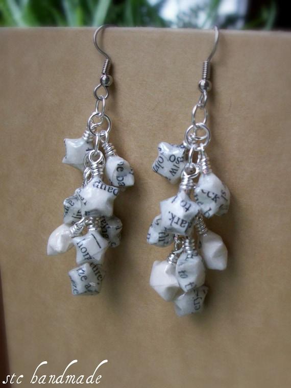 Literary Origami Earrings in Stars