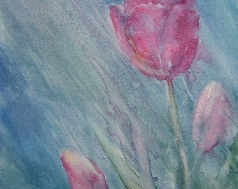 APRIL SHOWERS Tulip Watercolour on Canvas painting