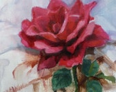 "Red Rose  Original Small Oil Painting One Of A Kind Home Decor Wall Art 6""x 6"""