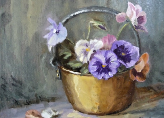 Pansies in Brass Bowl - Original Painting On Canvas Floral Blue Pink Yellow