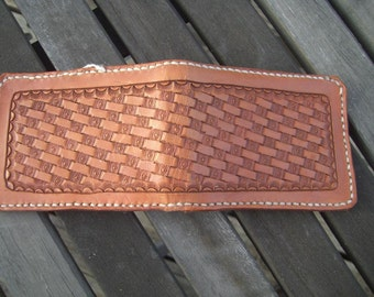 Hand Tooled Leather Wallet with Basketweave design in Brown