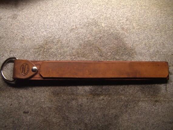 1 Inch Wide Oiled Horsehide Strop on Oak Board