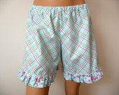 Plaid. French Knickers. Size Medium. Blue Ruffle Shorts. Retro Pajama Shorts. Womens pajamas. Cotton shorts. - PeriDotbyDuni