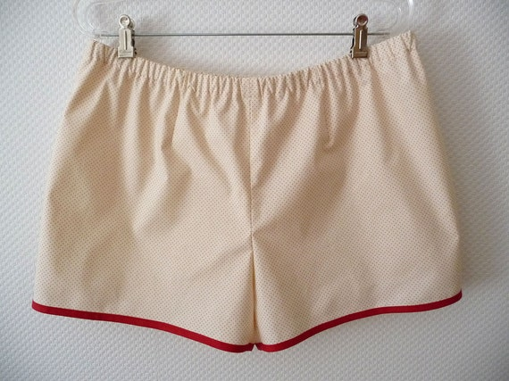 Summer Shorts. Size XL. Sleep Shorts. Cute Red Pin Dots