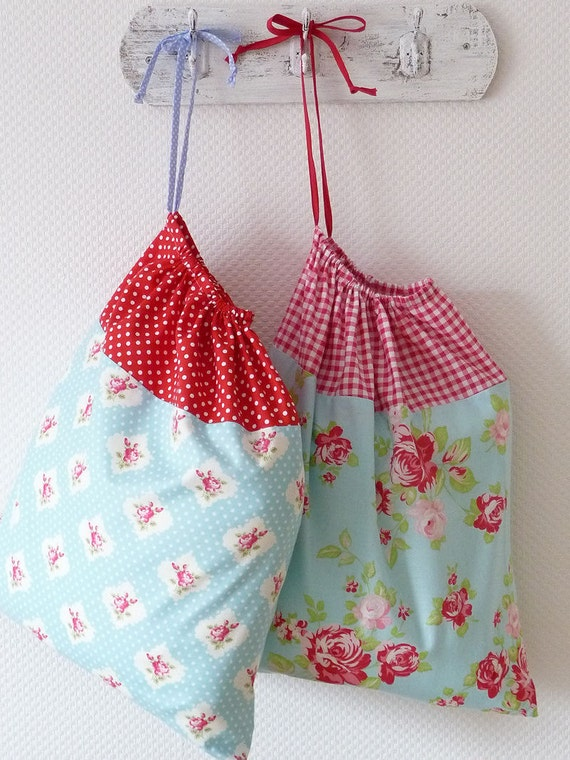 Retro Laundry Bag. Lingerie Bag. Large. Red Polka Dots and Roseprint blue