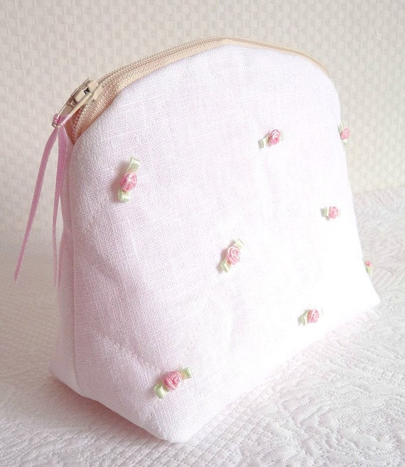 White Linen Pouch Pink and Green Satin Roses Wedding Pouch Quilted Cosmetic Bag OOAK