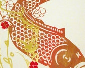 Prosperity Print, Golden Koi Fish and Heart Flowers