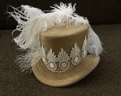 Steampunk Wedding Hat Wedding Hat Birdcage Veil Steampunk hat Wedding Fascinator Wedding Fascinator Silk Top hat Steampunk Wedding