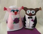"""Kate and Joe, """"just married"""" felt owls"""