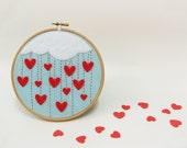 Embroidery hoop wall art  Cloudy rain of hearts - Made to order