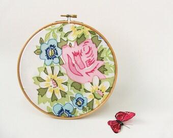 """OOAK Embroidery hoop wall art  Vintage flowers - 7"""" Easter spring gift"""