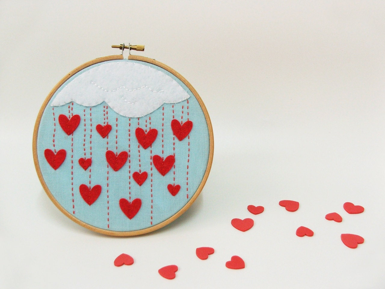 Embroidery hoop wall art cloudy rain of hearts made to