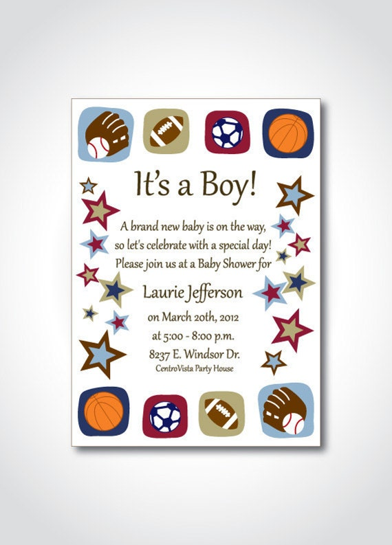 items similar to sports theme baby shower printable invitation diy