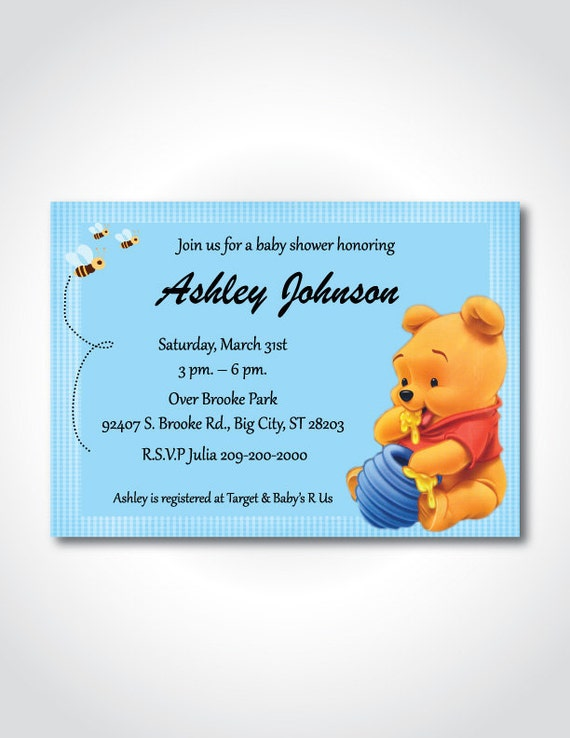 winnie the pooh baby shower printable invitation diy invitation