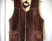 Vintage Leather Vest - 1970s Mens Dark Brown Suede Shearling Inside