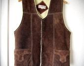Vintage Leather Vest - 1970s Mens Dark Brown Suede Shearling Inside
