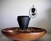 Vintage Mini Hibachi Grill and Wooden Pu Pu Platter - Cast Iron Japan Satay Tiki Cauldron with Lazy Suzy Tray Server