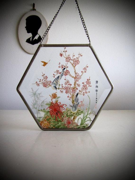Vintage Glass Suncatcher - Asian Flower Bird Beveled Hexagon Hanging Window Frame