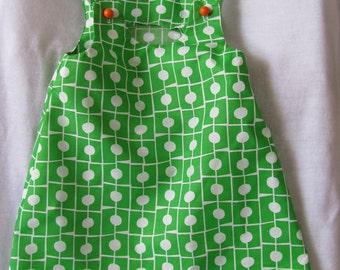 Bright Green 60s Mod Style Size 2 Girls Dress