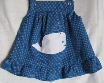 Blue Dress with White Whale Size 3T