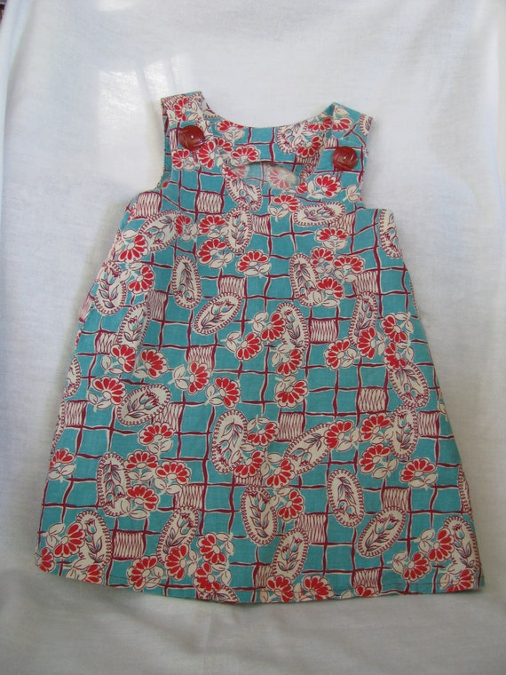 Girls A-Line Dress Size 2T Vintage Fabric