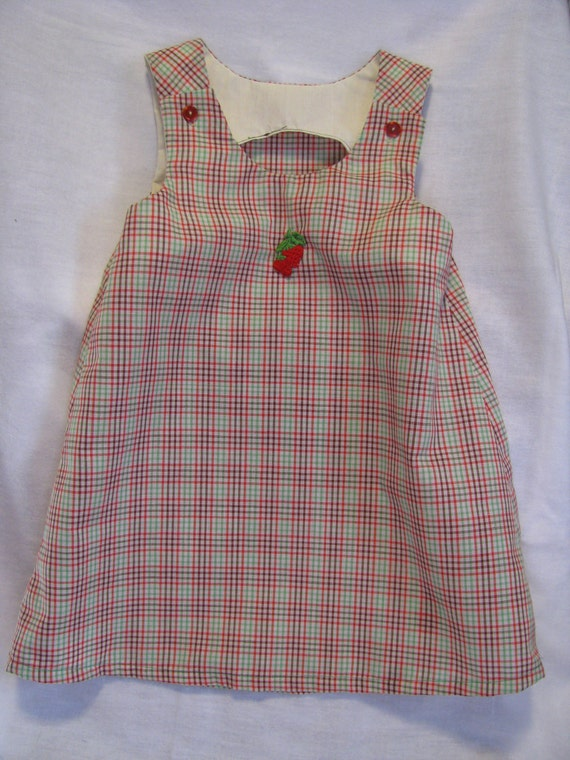 Sweet Strawberry Plaid A-Line Dress Size 2T
