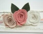 Vintage Pinks Felt Baby Headband Rose Flower Trio Headband