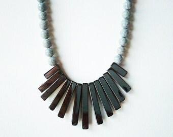 Hemalyke and black spotted feldspar long necklace