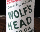 """Vintage Advertising """"Wolfs Head"""" Motor Oil Coin Bank"""