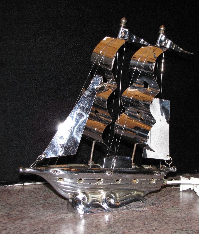 Art Deco Ship: Vintage Art Deco Chrome Sailing Ship Lamp