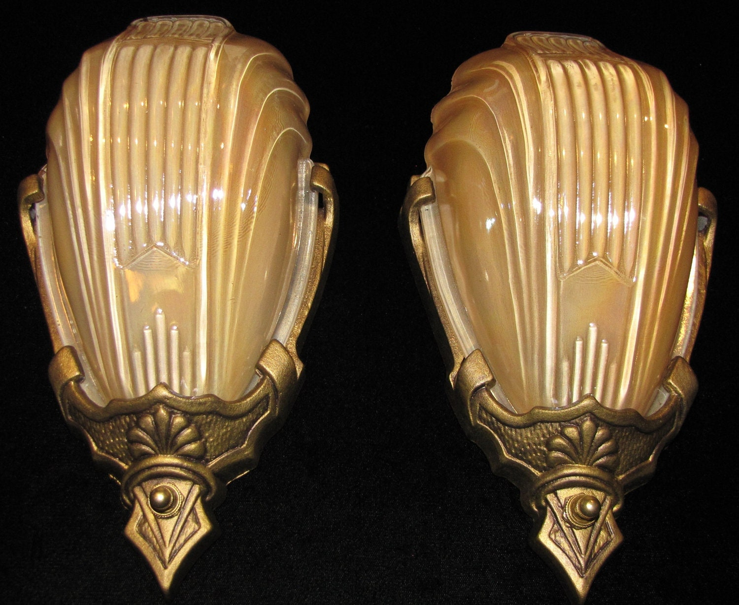 Vintage Pair of Art Deco Wall Sconces With Slip Shades