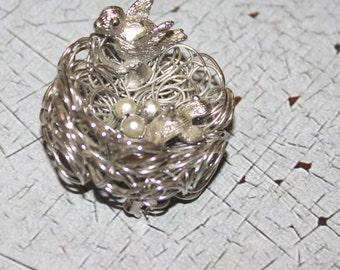 Vintage Wire Bird's Nest Brooch