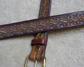 "Hand-tooled Leather Belt - B13025 - ""Flower Garden"""
