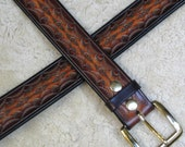 Hand-tooled Leather Belt - B21010 in Browns and Mahogany - Free US Shipping