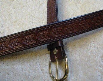 Hand-tooled Leather Belt, Made-To-Order - B21062 - Chevrons in Your choice of colors - FREE USA Shipping