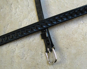 Hand-tooled Leather Skinny Belt Made-To-Order - B71023 - 3/4 inch - Ships for Free in the US
