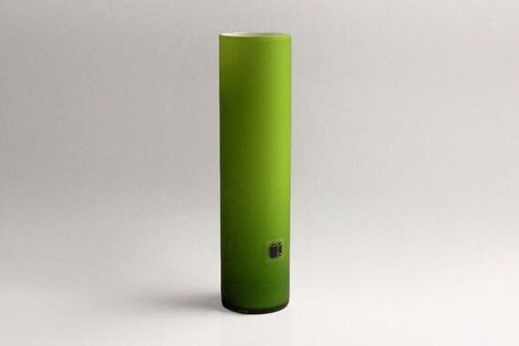 Tall Carlo Moretti Green Satinato Glass Vase - Murano