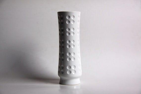 "Vintage Tall Op Art ""Golf"" Vase - 70s"