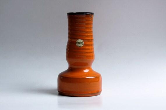 Retro Vase Orange by Dutch Studio Pottery Van Eck - 60s