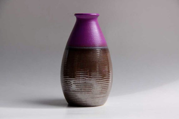Vintage Purple / Silver West German Vase - Dumler Breiden 1970s