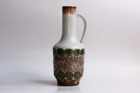 Vintage Tall White /  Green /  Brown Pitcher - Strehla East Germany