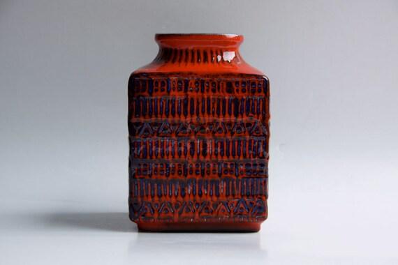 West German Red / Blue Vase - Bay 60s