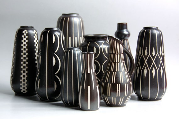 Amazing Collection of 9 Mid Century Vases  -  Anton Piesche