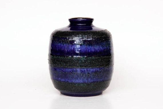 Vintage Blue Lava Vase - Strehla East Germany