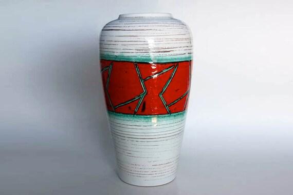 Vintage West German Floor Vase With Abstract Motif   - Scheurich 60s 70s