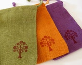 Jute Drawstring Bags - Medium 5 x 7 in. - Set of 3 - Handstamped Olive, Orange and Purple Burlap with Tree Design