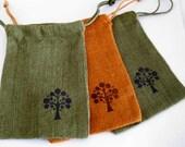 Jute Drawstring Bags - Medium 5 x 7 in. - Set of 3 - Handstamped Olive and Orange Burlap with Tree Design