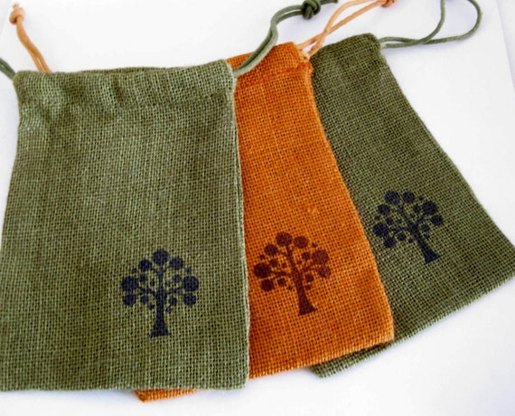 Jute Drawstring Bags - Medium 5 x 7 in. - Set of 3 - Handstamped Olive and Orange Burlap with Tree Design